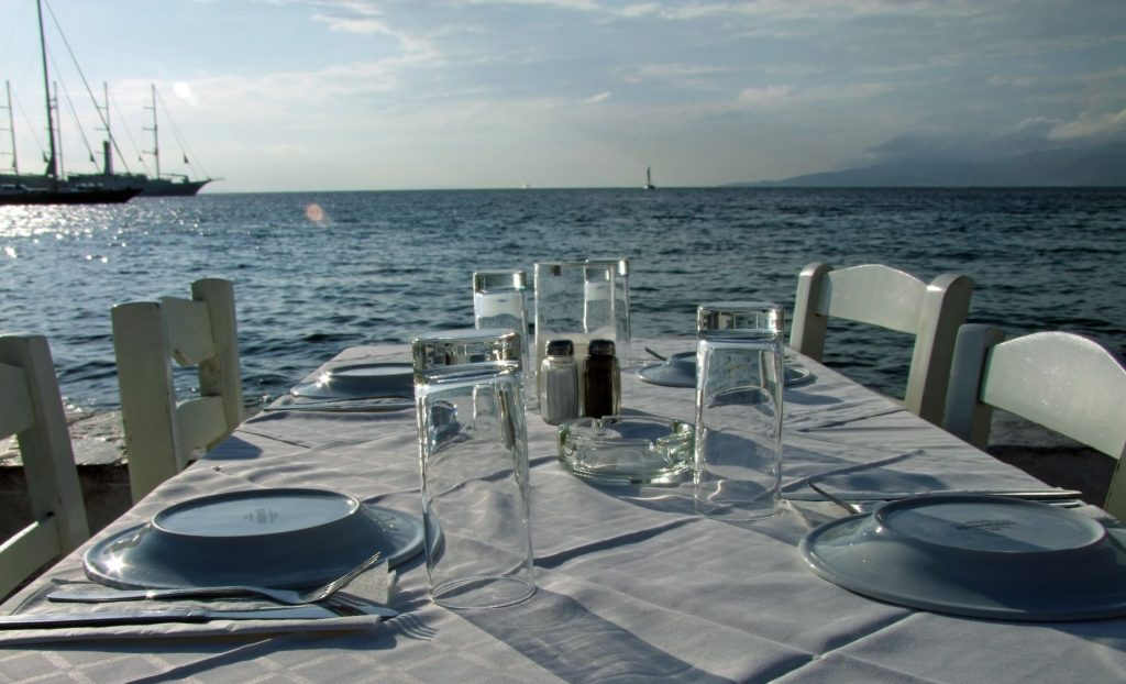 Taste greek food beach restaurant